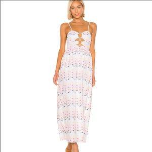 Tularosa Eloisa White Floral Eyelet Maxi Dress